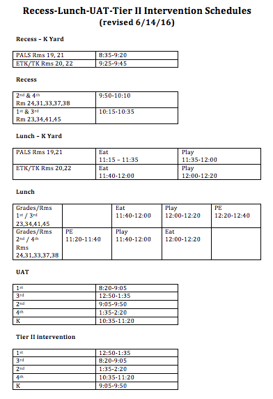Recess Lunch UAT TierII Schedules.png
